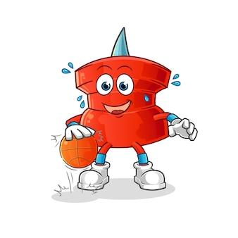 Push pin driblar o personagem de basquete. mascote dos desenhos animados