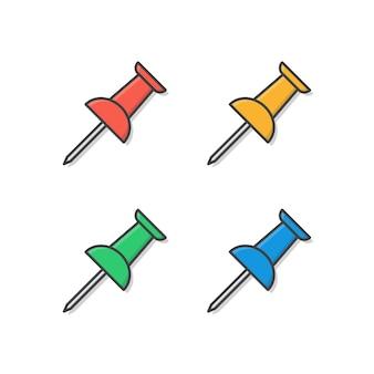 Push pin. ícone de escola e escritório