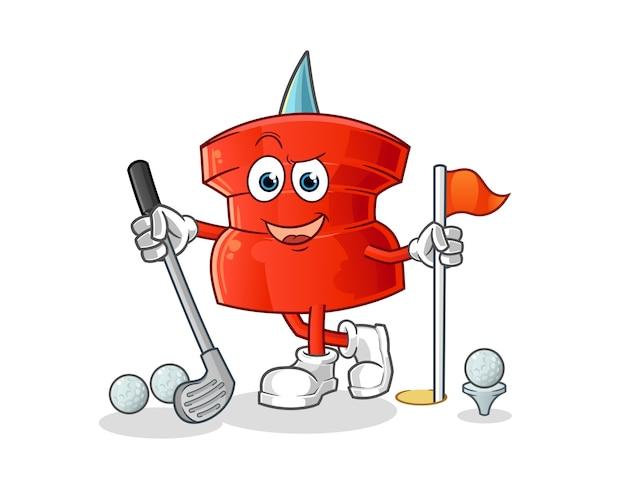 Push pin jogando golfe. personagem de desenho animado Vetor Premium