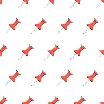 Push pin seamless pattern em um fundo branco. ilustração em vetor tema escola e escritório