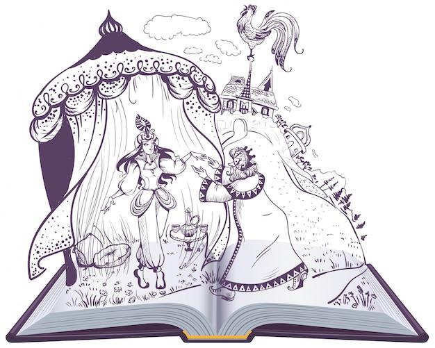 Pushkin, conto de fadas, de, galo dourado, livro aberto, ilustração