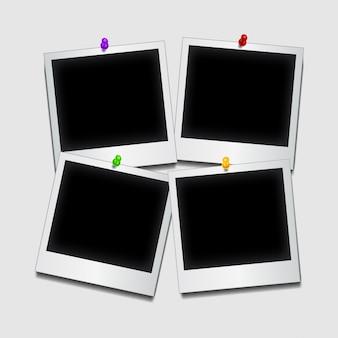Pushpins segurando fotogramas