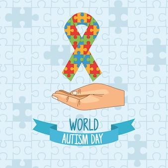 Puzle dia mundial do autismo com quebra-cabeça de levantamento de mão
