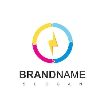 Puzzle bolt logo design vector