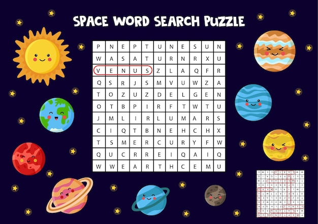 Puzzle de busca de palavras no espaço para crianças. encontre nomes de planetas do sistema solar.