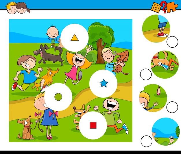 Puzzle de peças com crianças e animais de estimação