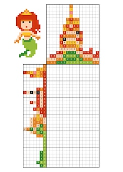Puzzle de pintar por números (nonogram), jogo educacional para crianças, sereia