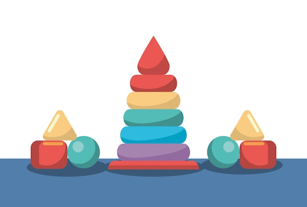 Pyramid and blocks pieces toys