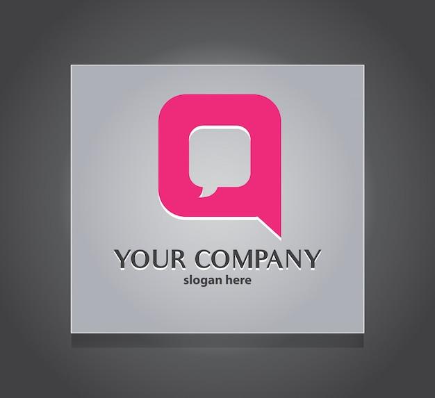 Q carta modelo de logotipo de comunicação de bate-papo