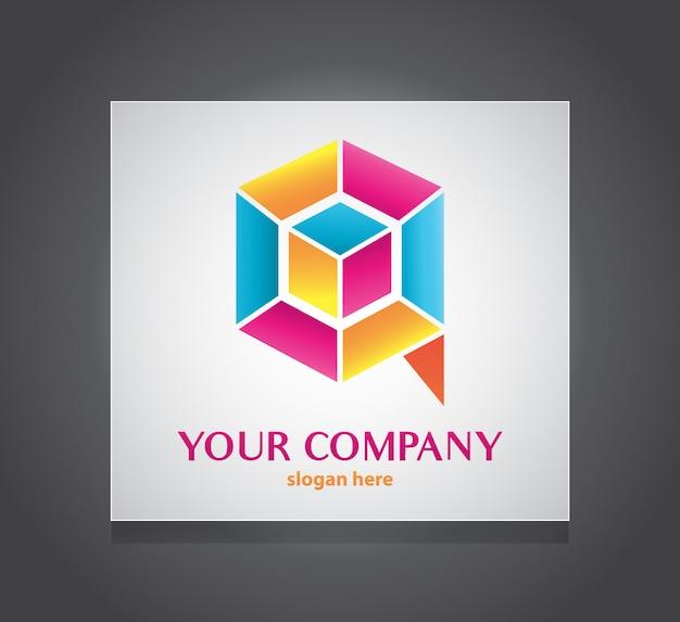 Q modelo de logotipo colorido de caixa de letra