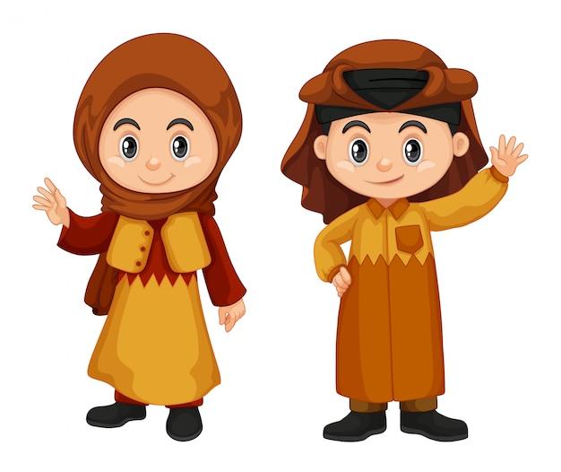 Qatar crianças em traje tradicional