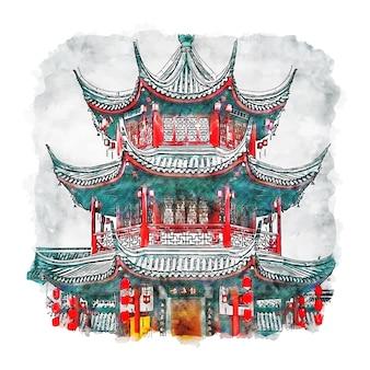 Qibao shanghai china esboço em aquarela ilustrações desenhadas à mão