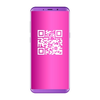 Qr code na tela do celular. conceito plano.