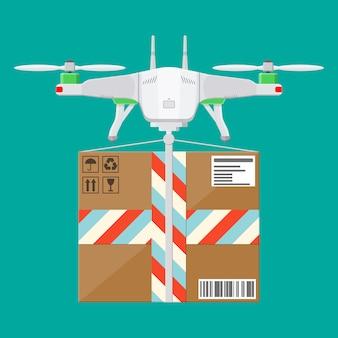 Quadcopter drone com caixa.