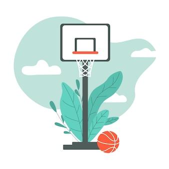 Quadra de basquete com placa e cesta. basquetebol. ilustração.