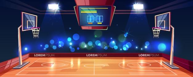 Quadra de basquete iluminada com luzes do estádio, placar e câmeras de lanterna