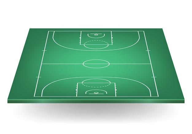 Quadra de basquete verde.