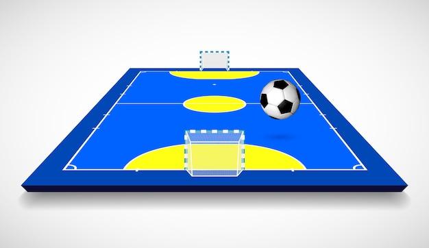Quadra de futsal ou campo com ilustração da vista em perspectiva da bola.
