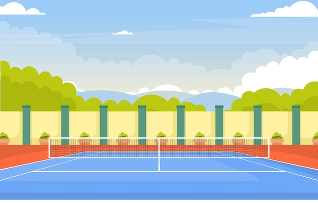 Quadra de tênis ao ar livre, jogo de esporte recreação natureza dos desenhos animados paisagem