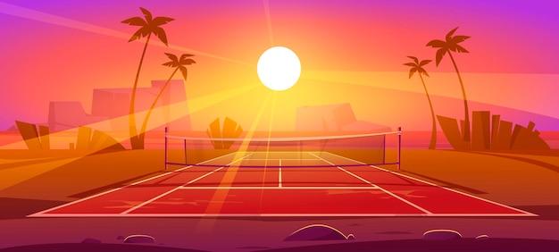 Quadra de tênis ao ar livre para exercícios esportivos