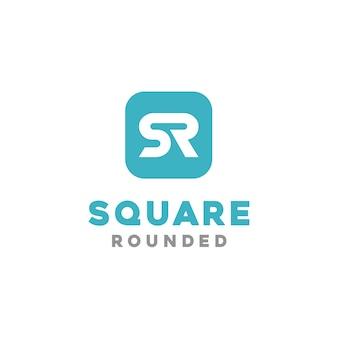Quadrado arredondado com inicial sr para o logotipo de aplicativos