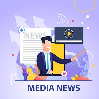 Quadrado banner media news sobre fundo azul e sorrindo homem de terno