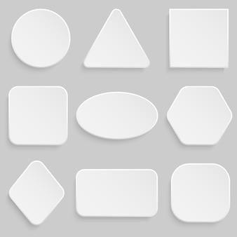 Quadrado branco e conjunto de bannerr de botão redondo.
