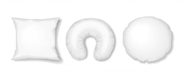 Quadrado branco, redondo e almofadas de viagem. acessórios de sono realista de vetor simulado acima