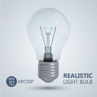 Quadrado com imagem realista de lâmpada de filamento isolada pendurada no vácuo com sombra e ilustração de título editável