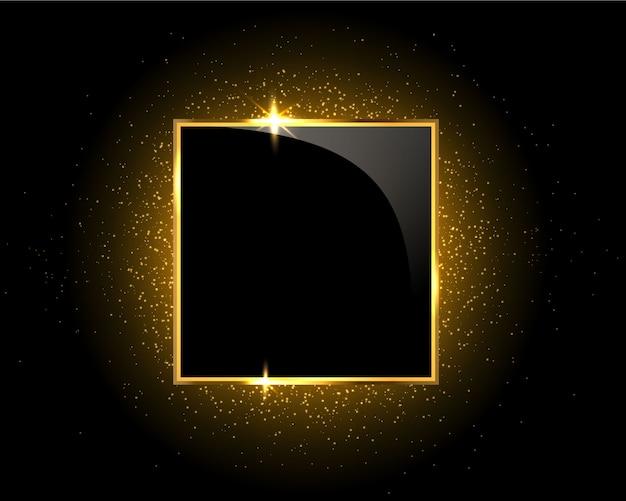 Quadrado de brilho dourado brilhante em fundo preto