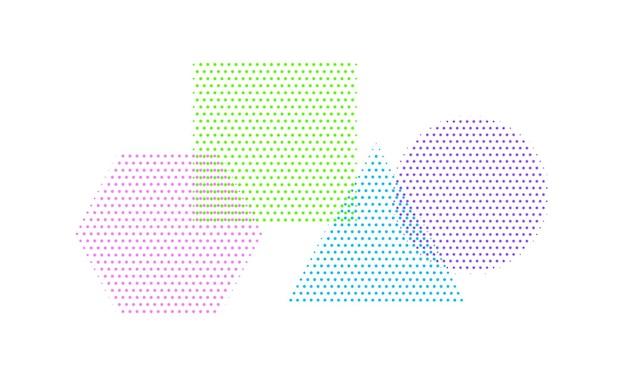 Quadrado de figuras clássicas, círculo, triângulo e hexágono em estilo de meio-tom de cores diferentes. elementos do vetor para design moderno