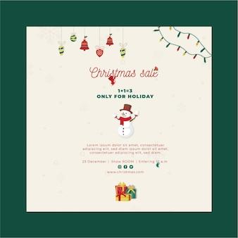 Quadrado de folheto de vendas de natal