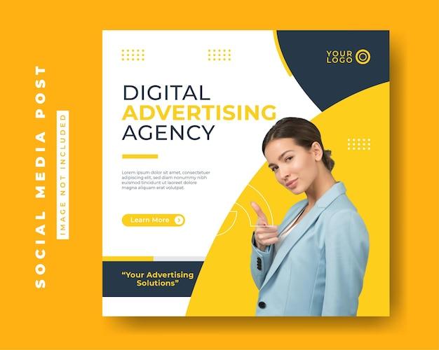 Quadrado de modelos de postagem de mídia social para agência de marketing digital