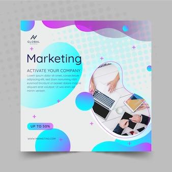 Quadrado de panfleto comercial de marketing