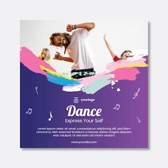 Quadrado de panfleto dançando