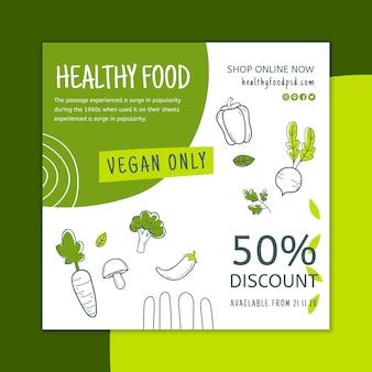 Quadrado de panfleto de alimentos saudáveis e bio