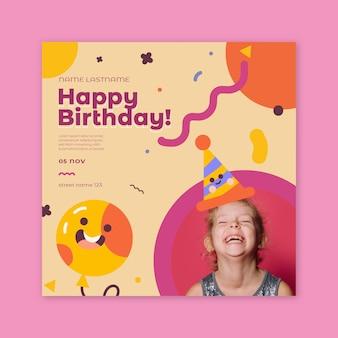 Quadrado de panfleto de aniversário infantil