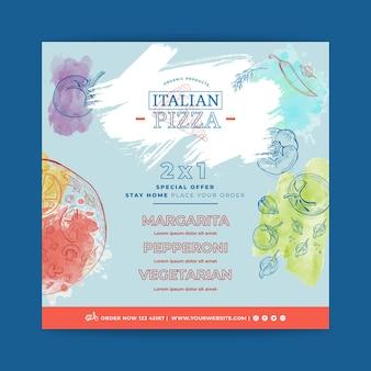 Quadrado de panfleto de comida italiana