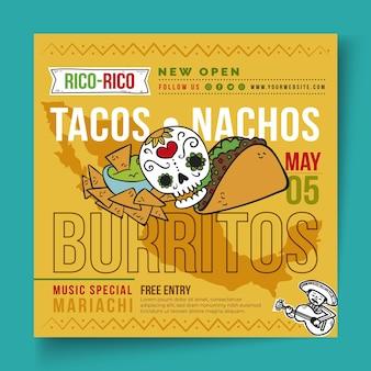 Quadrado de panfleto de comida mexicana