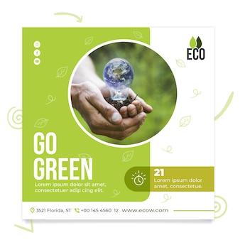 Quadrado de panfleto de meio ambiente