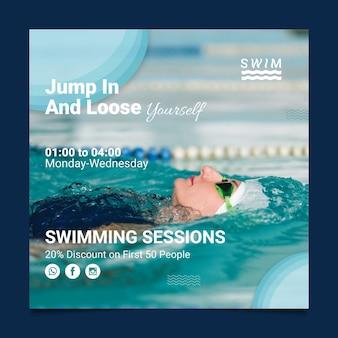 Quadrado de panfleto de natação