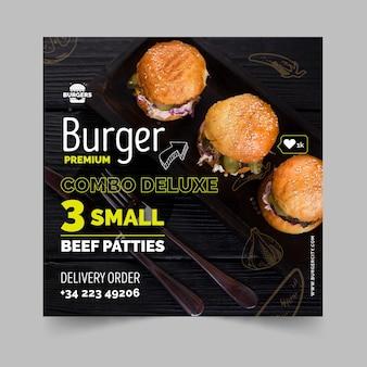 Quadrado de panfleto de restaurante de hambúrgueres