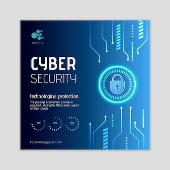 Quadrado de panfleto de segurança cibernética