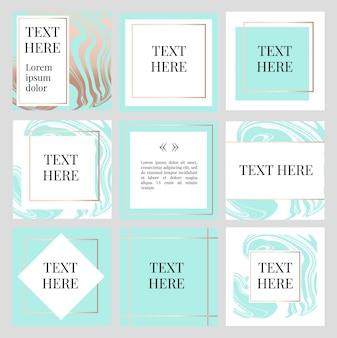 Quadrado de quadro de moda com modelo de texto