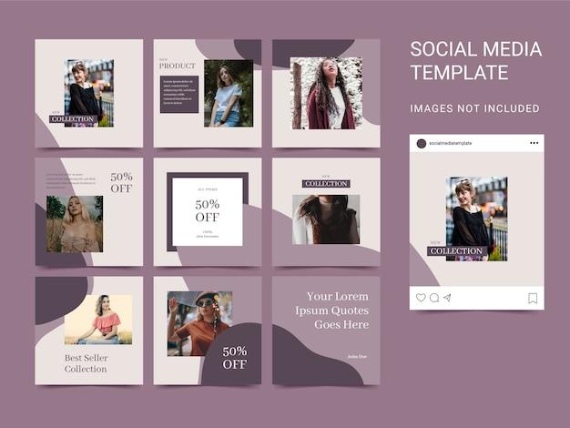 Quadrado de quebra-cabeça de modelo de mídia social com cores estéticas