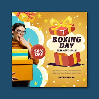 Quadrado do folheto de boxing day