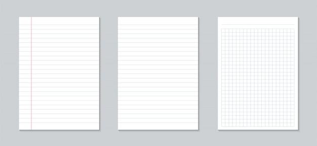 Quadrado, folhas de papel pautado, caderno de páginas em grade.