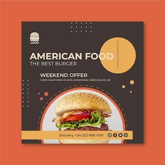 Quadrado panfleto de comida americana