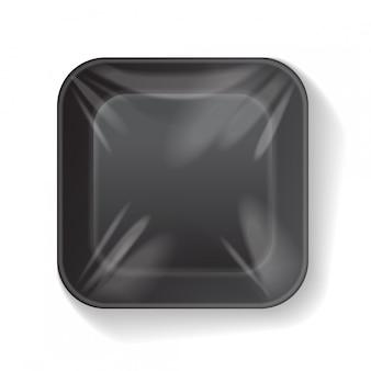Quadrado preto em branco isopor plástico bandeja de alimentos recipiente. modelo de mock-up de vetor
