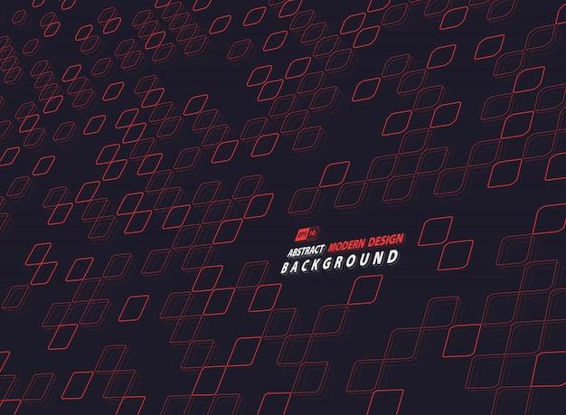 Quadrado vermelho abstrato do projeto da tecnologia no fundo escuro.